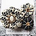 ♥ victoria ♥ broche textile romantique fleurs potirons - les yoyos de calie