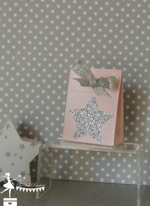 ballotin dragées baptême rose blanc nacré thème étoile star argent sujet enfant