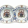 A pair of Chinese Export armorial soup plates, circa 1735