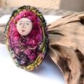 broche textile perso vert rose I