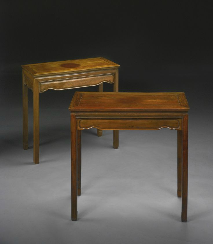 A pair of Chinese Huanghuali and mixed hardwood side table (tiaozhuo), Qing dynasty, 19th century