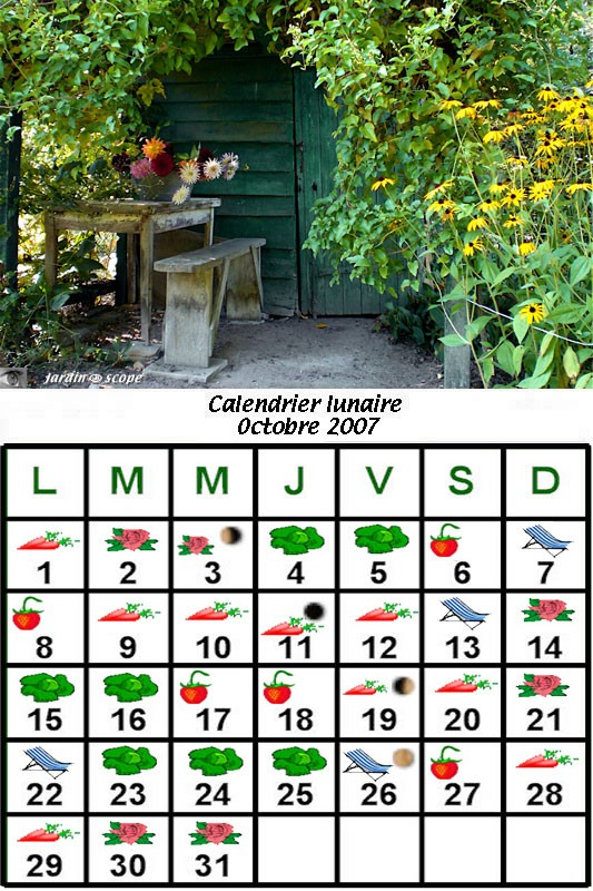 calendrier lunaire d 39 octobre 2007 le jardinoscope cot pratique les bons gestes faire au jardin. Black Bedroom Furniture Sets. Home Design Ideas