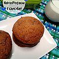 Cookies à la halva pistache et chocolat