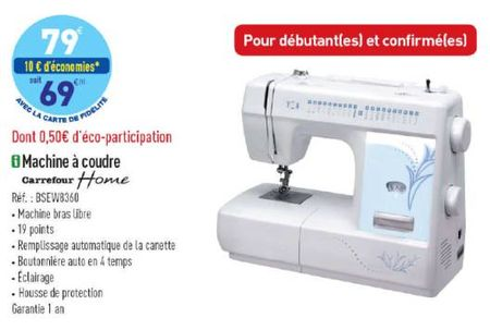 Machine a coudre bluesky carrefour appareils m nagers for Machine a coudre carrefour