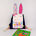 Sac bébé lapin fille personnalisé prénom Lexie violet rose fuchsia sac à dos maternelle personnalisable rabbit backpack personalized name purple pink toddler bag
