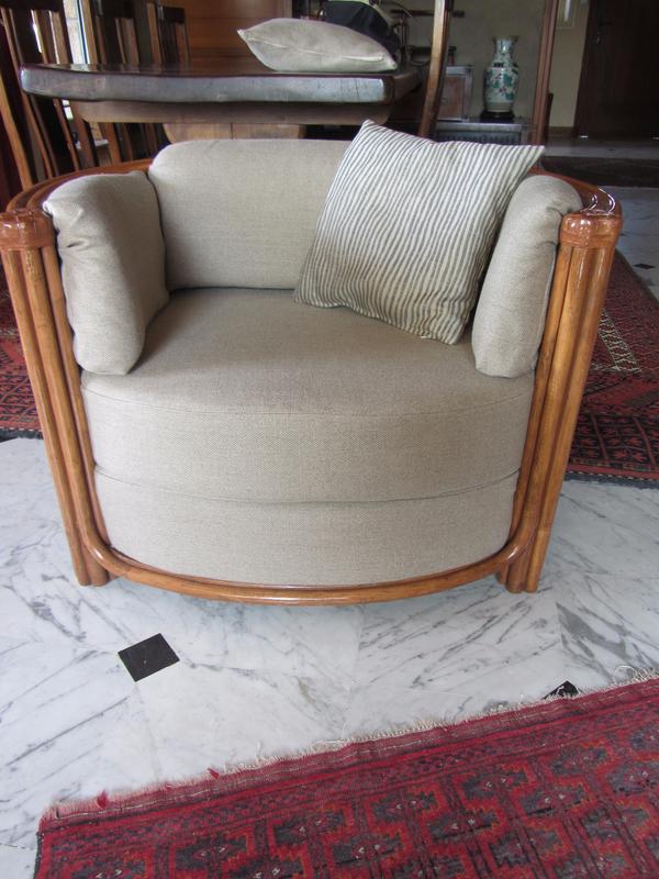 fauteuil en lin tapissier côté sièges