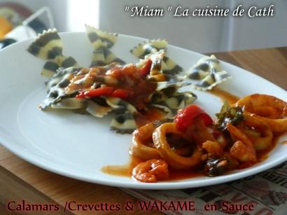 """ღ """" MIAM """" Calamars/Crevettes & WAKAME en sauce"""