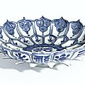 A rare blue and white 'Lotus' dish, mark and period of Wanli. Photo: Sotheby's.