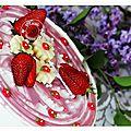 Délice crémeux fraises rhubarbe et fondant pistache......hummmmm! on en redemande .....