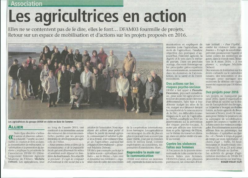 la semaine de l'Allier Roger Volat Les agricultrices en action