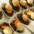 Salade de lentilles, et noix de Saint-Jacques en cuillères