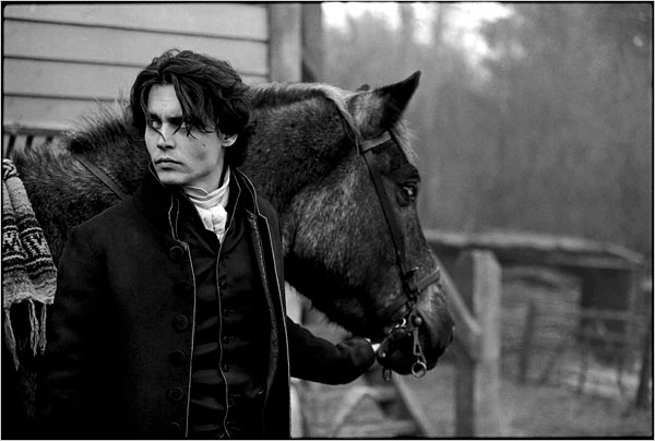 Johnny Depp on the Sleepy Hollow set in England in 1999