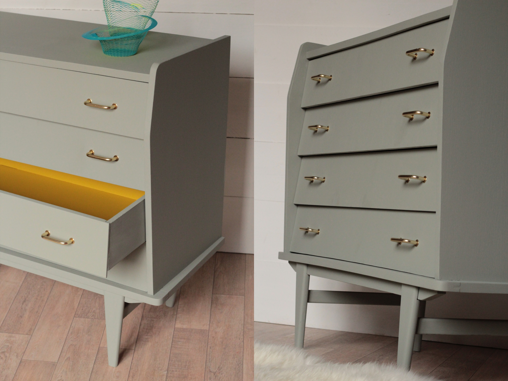 Commode vintage années 50, gris pigeon/jaune   trendy little
