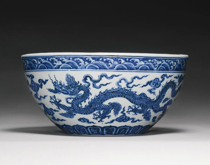 A rare and important blue and white 'Dragon' bowl (bo), Xuande mark and period