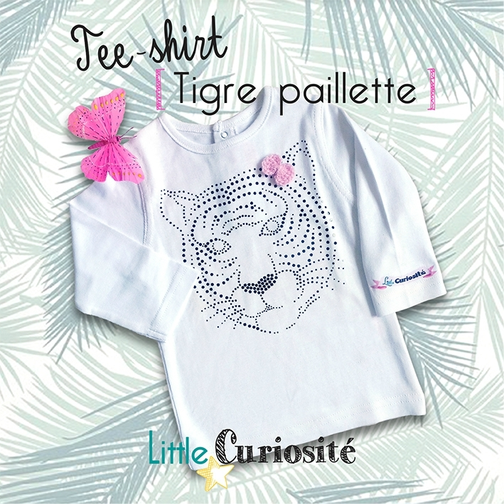 Mode Bébé-Enfant-Fille, Tee-shirt manches longues Blanc [ Tigre paillette ] + Noeud crochet - Handmade in France - ©Little Curiosité (1)