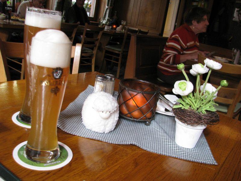 Bière en Allemagne, brasserie typique, Würzburg.