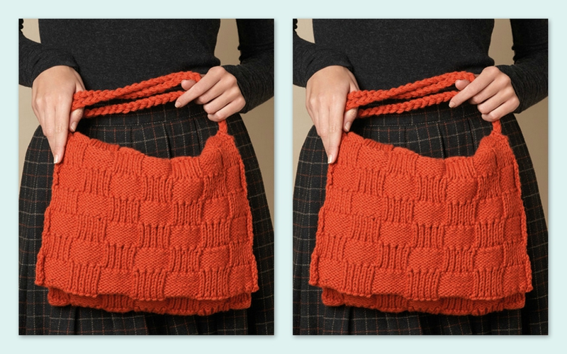 Un sac au point fantaisie au tricot