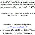 Conf. fins gourmets chevaliers de la table du comté d'olonne - voeux 2014