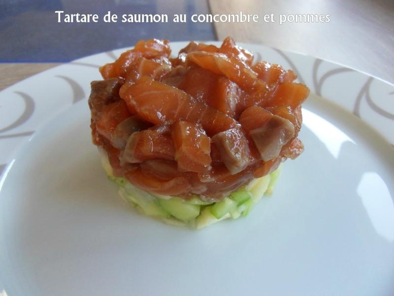 tartare de saumon au concombre et pomme