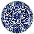 A large deep blue and white porcelain lotos bowl, china, kangxi period