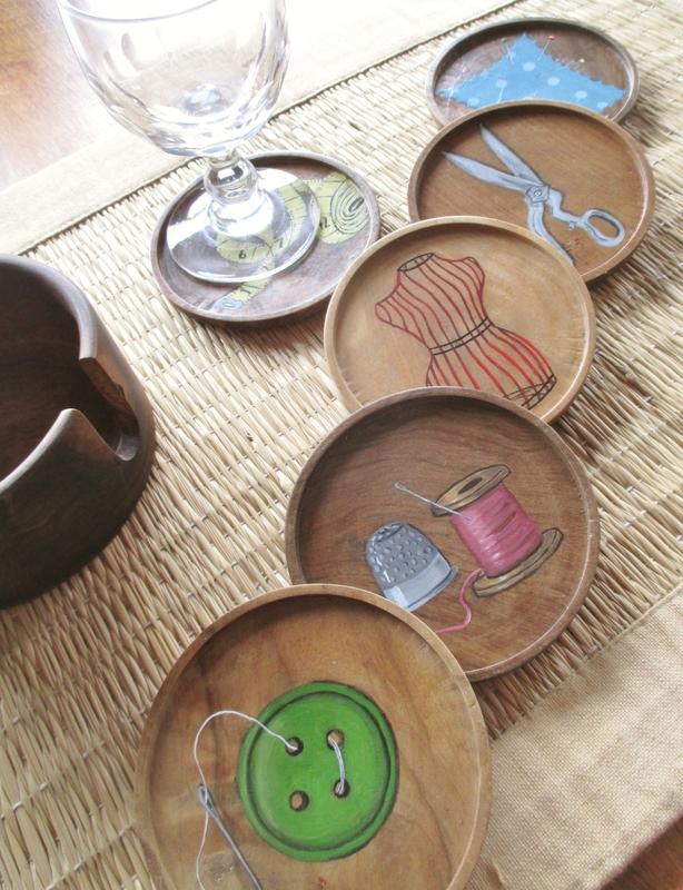 Outils de couturière (sous-verre bois) - CélinArtisa