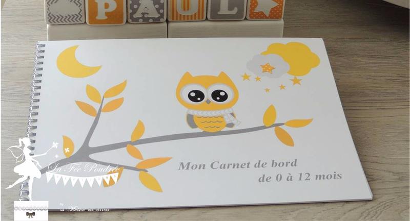 carnet de naissance livre livret cadeau hibou jaune gris