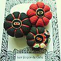 ♥ zelia ♥ broche textile japonisante fleurs potirons - les yoyos de calie
