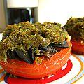Tomates farcies au beurre d' escargots, 4 épices et coriandre