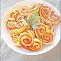 Palmiers jambon, tomate, fromage