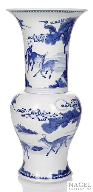 A fine blue and white yenyen vase with deer in a landscape, China, Kangxi period