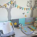 Décoration et linge de lit bébé turquoise moutarde gris argent