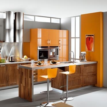 Cuisine orange bois photo de c t cuisine les ateliers for Deco cuisine gris et orange