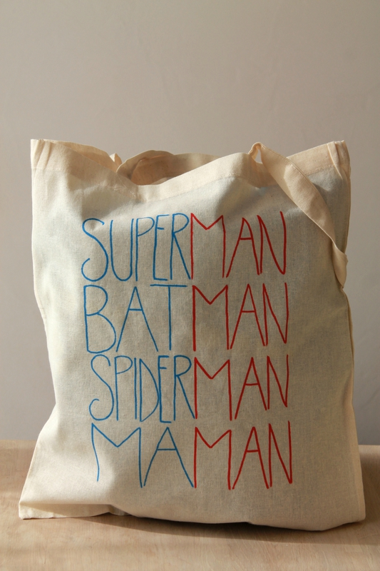 tote bag superman batman spiderman maman all in the. Black Bedroom Furniture Sets. Home Design Ideas
