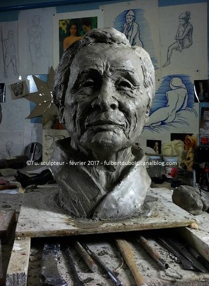 Fulbert DUBOIS - Fu - sculpteur - sculpture - modelage - terre - argile - étude - portrait - buste - Tamura - aikido copie