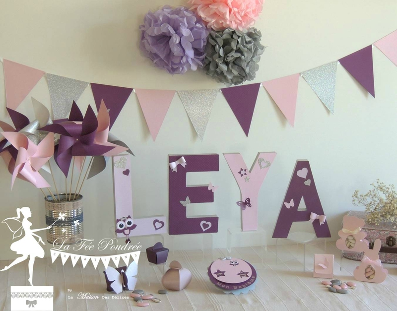 decoration bapteme baby shower theme hibou moulin a vent guirlande fanion faire part lettres prenom decorees
