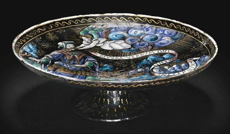 Attributed to Colin Nouailher, French, Limoges, circa 1530-1550, Tazza with an angel feeding a prophet, probably Isaiah