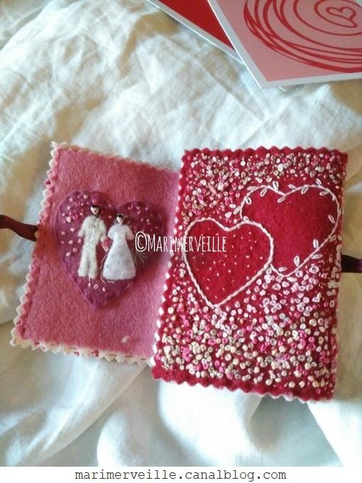 Carnet textile Saint Valentin -épingles de collection -création Marimerveille