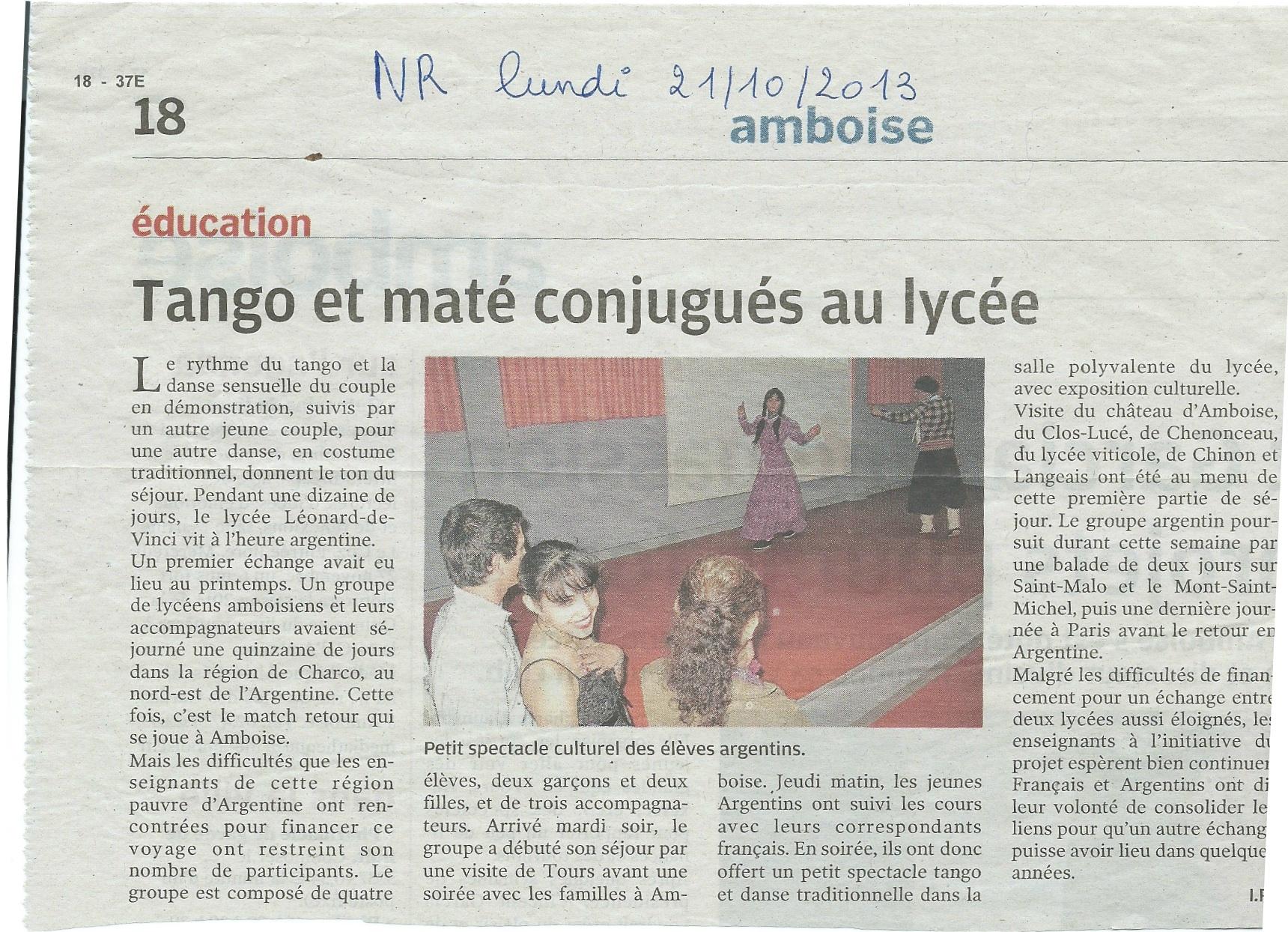 Argentins au lycée Vinci Art