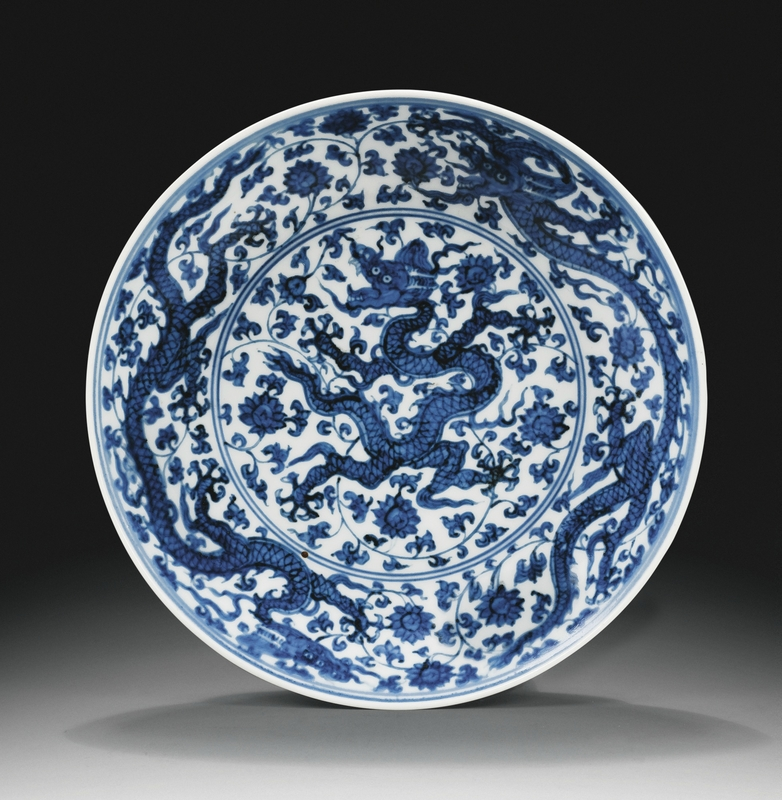 A blue and white 'dragon' dish, Zhengde mark and period