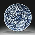 A blue and white 'dragon' dish, zhengde mark and period (1506-1521)