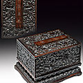 An important imperial carved 'dragon' zitan box and cover. qianlong (1736-1795)