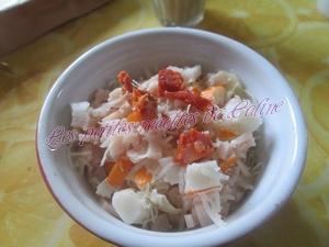 Oeufs cocotte au surimi, blanc de poulet, chorizo et gruyère râpé12