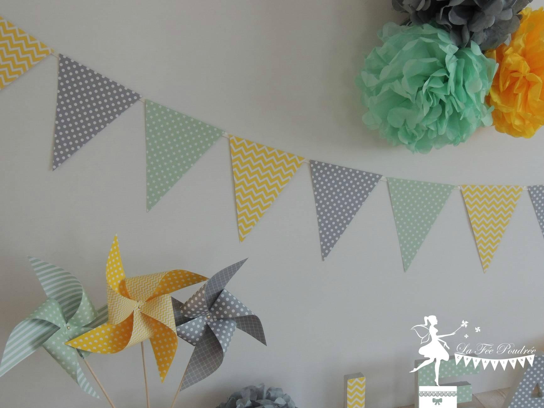 decoration mariage bapteme baby shower anniversaire pompon guirlande fanions moulin2