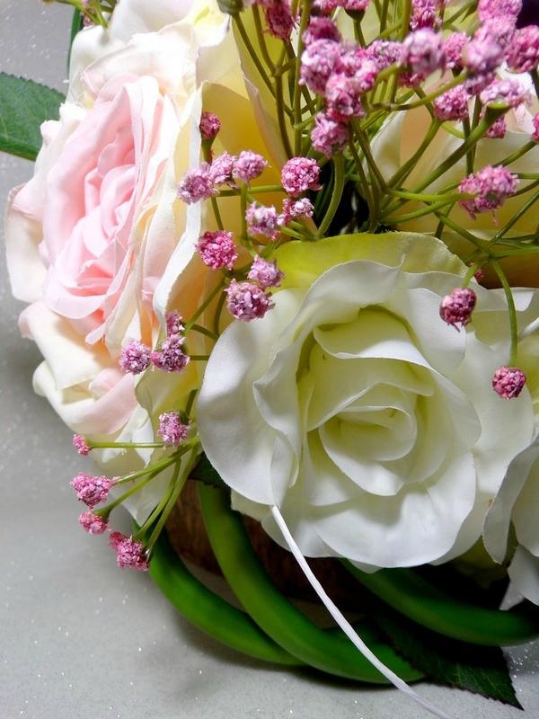 Bouquet de mariée rond tombant arum rose gypsophile
