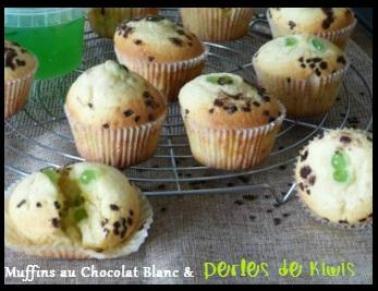 """ღ """" Miam """" Muffins au Chocolat Blanc et Perles de Kiwis"""