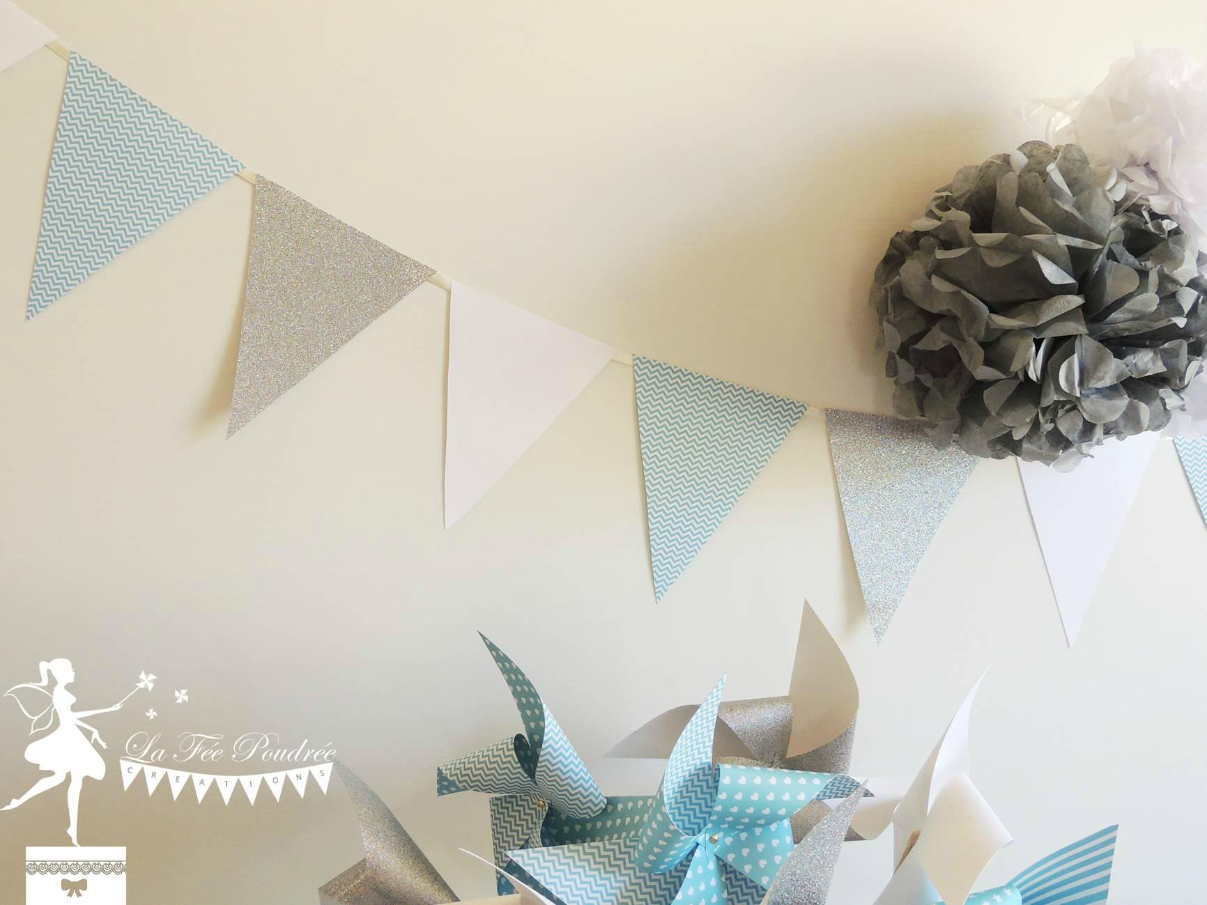 guirlande fanion moulins a vent decoration bapteme baby shower mariage pompon gris bleu pastel blanc gris argent