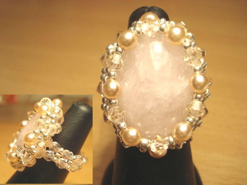 392 Bague cabochon quartz rose pour Kristina