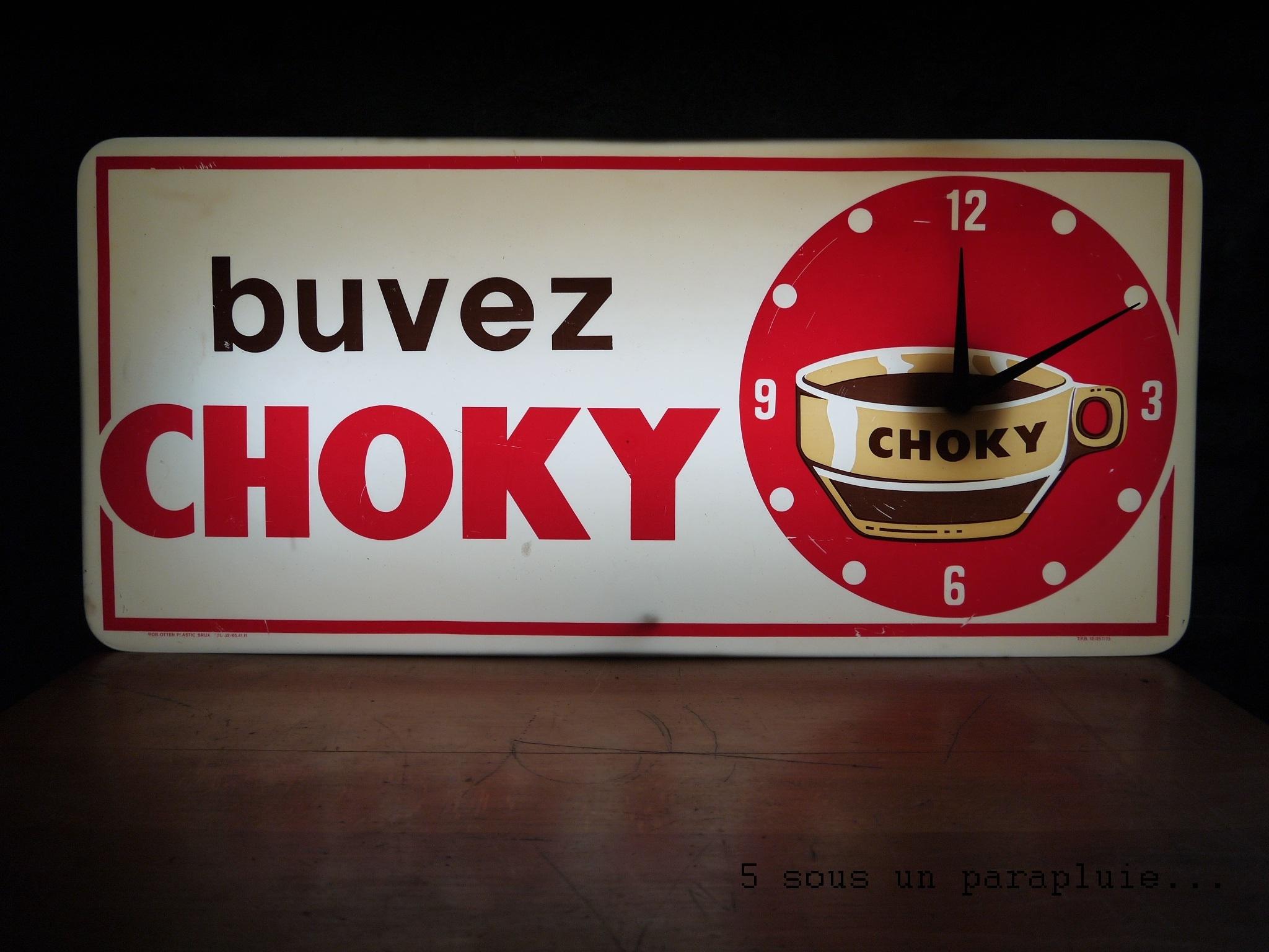"""Exceptionnel Ancienne enseigne lumineuse """"buvez Choky"""" - 5 sous un parapluie  GT91"""