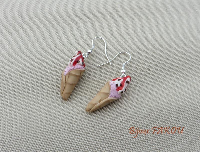 bijoux sucrés, glace fraise