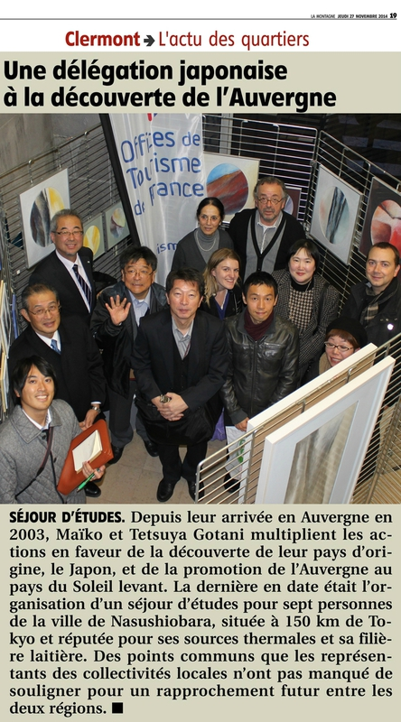 Article de journal La Montagne 27 nov-2014-Volvic-JANA